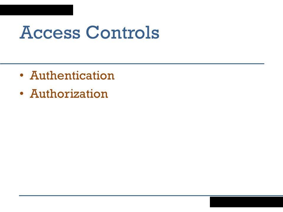 Access Controls Authentication Authorization