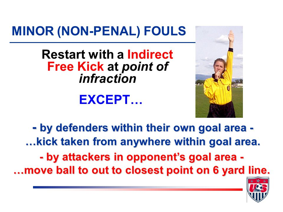 Prevents the goalkeeper from releasing the ball from his/her hands MINOR (NON-PENAL) FOULS