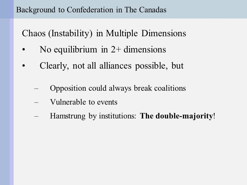 Background to Confederation in The Canadas Chaos (Instability) in Multiple Dimensions No equilibrium in 2+ dimensions Clearly, not all alliances possible, but –Opposition could always break coalitions –Vulnerable to events –Hamstrung by institutions: The double-majority!