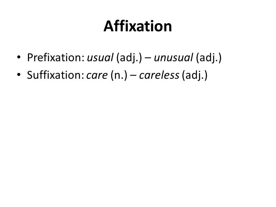 Affixation Prefixation: usual (adj.) – unusual (adj.) Suffixation: care (n.) – careless (adj.)