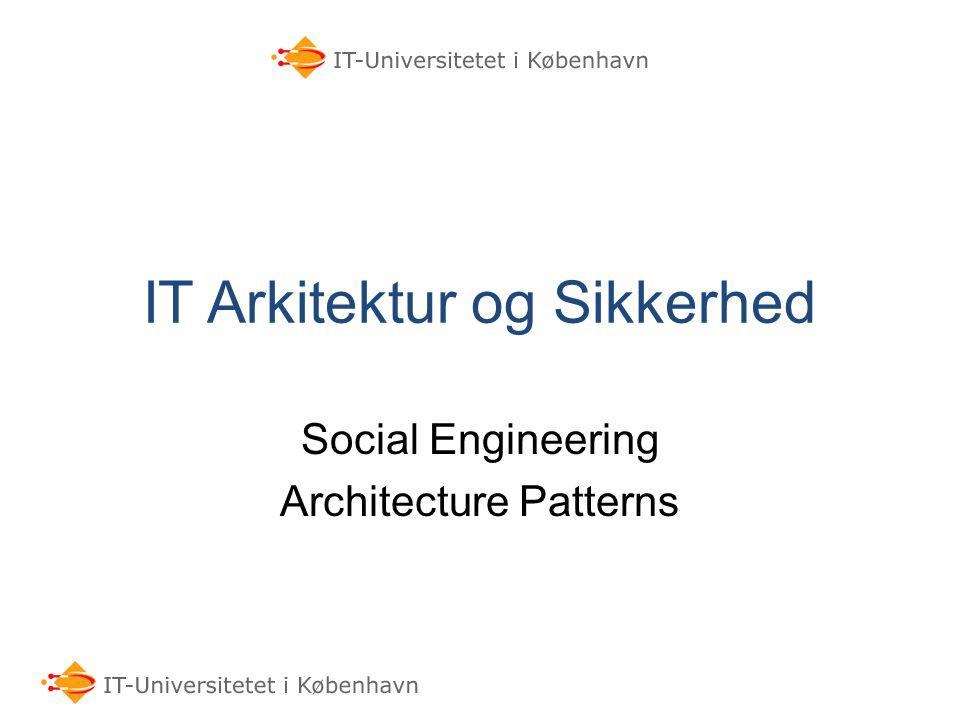 IT Arkitektur og Sikkerhed Social Engineering Architecture Patterns