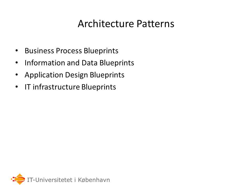 Architecture Patterns Business Process Blueprints Information and Data Blueprints Application Design Blueprints IT infrastructure Blueprints