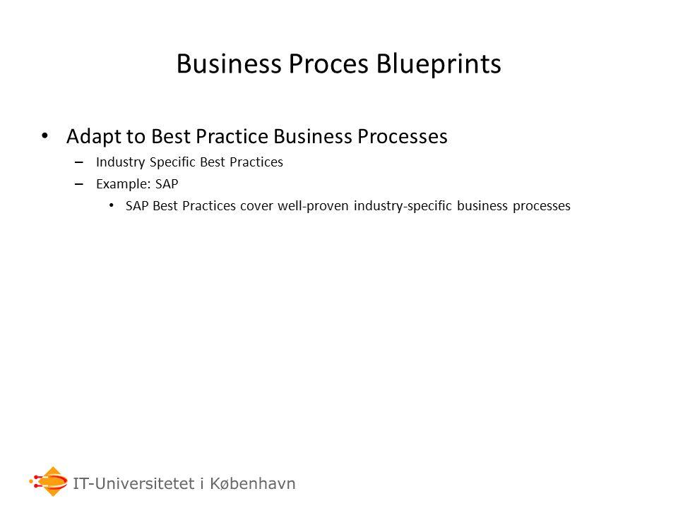 Business Proces Blueprints Adapt to Best Practice Business Processes – Industry Specific Best Practices – Example: SAP SAP Best Practices cover well-p