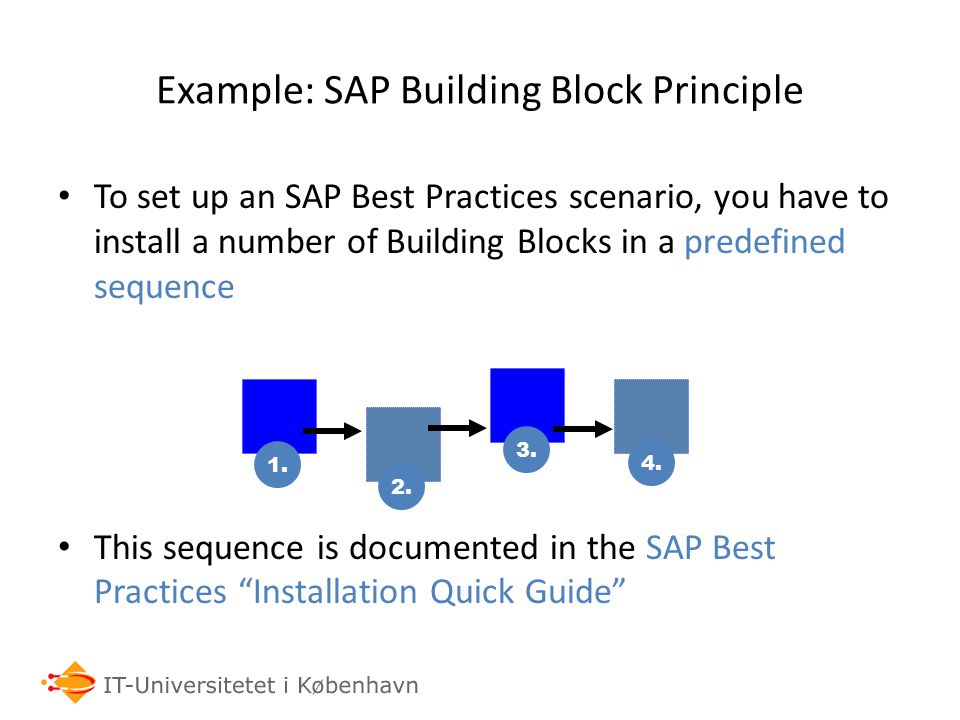 Example: SAP Building Block Principle To set up an SAP Best Practices scenario, you have to install a number of Building Blocks in a predefined sequence This sequence is documented in the SAP Best Practices Installation Quick Guide 1.