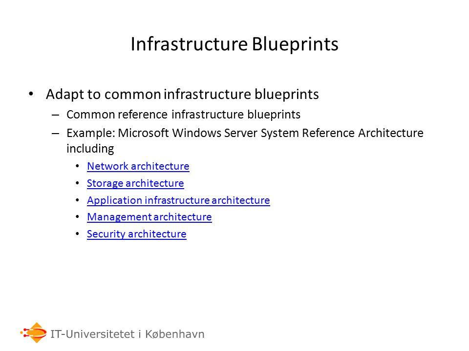Infrastructure Blueprints Adapt to common infrastructure blueprints – Common reference infrastructure blueprints – Example: Microsoft Windows Server S