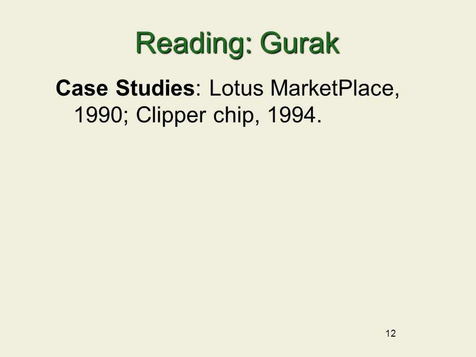 12 Reading: Gurak Case Studies: Lotus MarketPlace, 1990; Clipper chip, 1994.