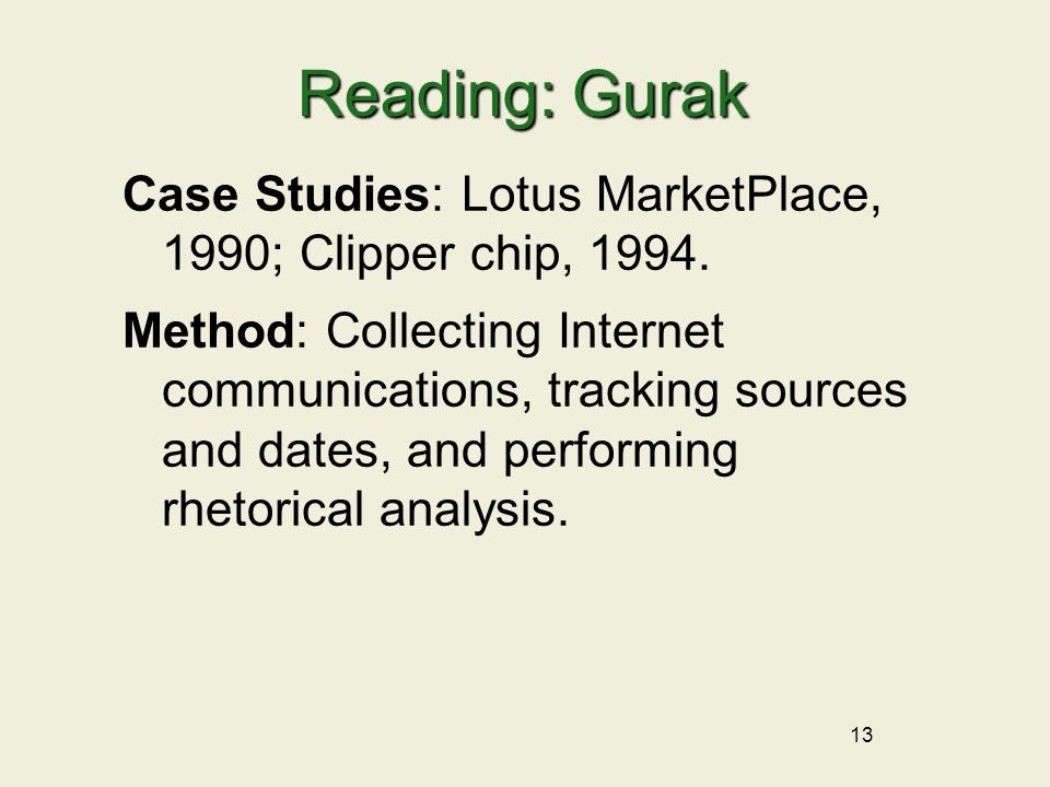 13 Reading: Gurak Case Studies: Lotus MarketPlace, 1990; Clipper chip, 1994. Method: Collecting Internet communications, tracking sources and dates, a