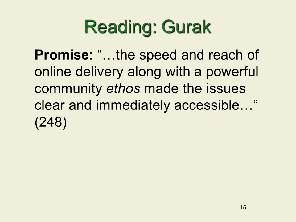 15 Reading: Gurak Promise: …the speed and reach of online delivery along with a powerful community ethos made the issues clear and immediately accessible… (248)