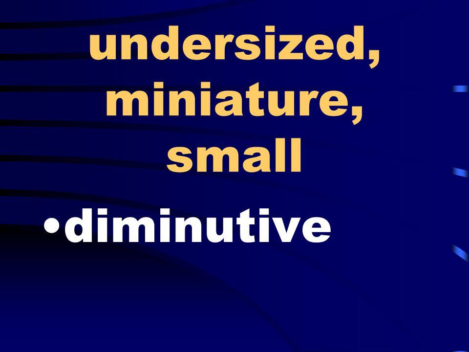 undersized, miniature, small diminutive