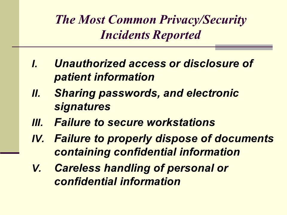 The Most Common Privacy/Security Incidents Reported I.