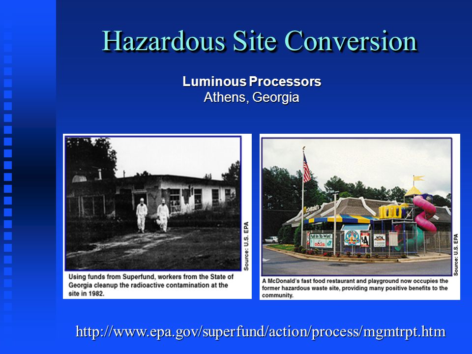 Hazardous Site Conversion http://www.epa.gov/superfund/action/process/mgmtrpt.htm Luminous Processors Athens, Georgia