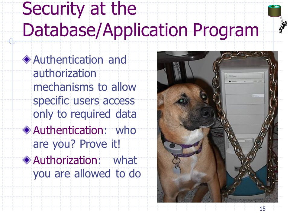 Security at the Database/Application Program Authentication and authorization mechanisms to allow specific users access only to required data Authentication: who are you.