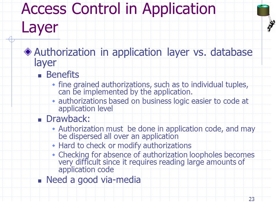 Access Control in Application Layer Authorization in application layer vs.