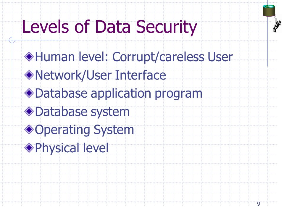 Levels of Data Security Human level: Corrupt/careless User Network/User Interface Database application program Database system Operating System Physical level 9