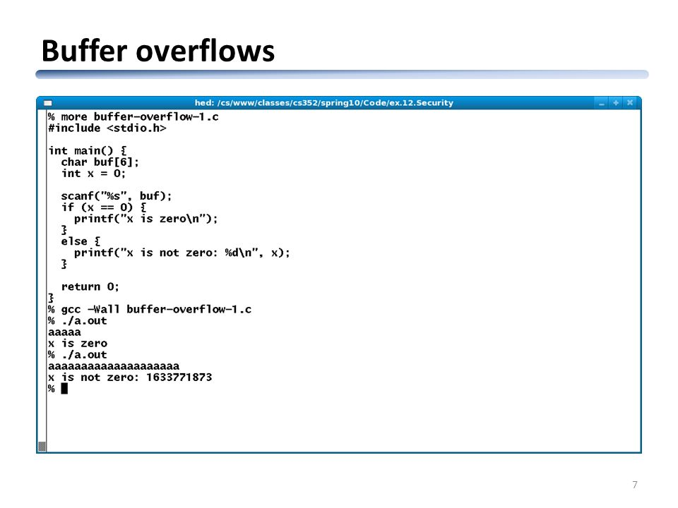 Buffer overflows 7