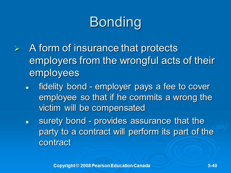 Copyright © 2008 Pearson Education Canada5-40 Bonding  A form of insurance that protects employers from the wrongful acts of their employees fidelity