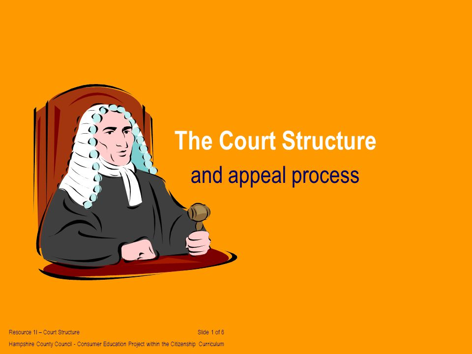 The Court Structure and appeal process Resource 1I – Court Structure Slide 1 of 6 Hampshire County Council - Consumer Education Project within the Citizenship Curriculum