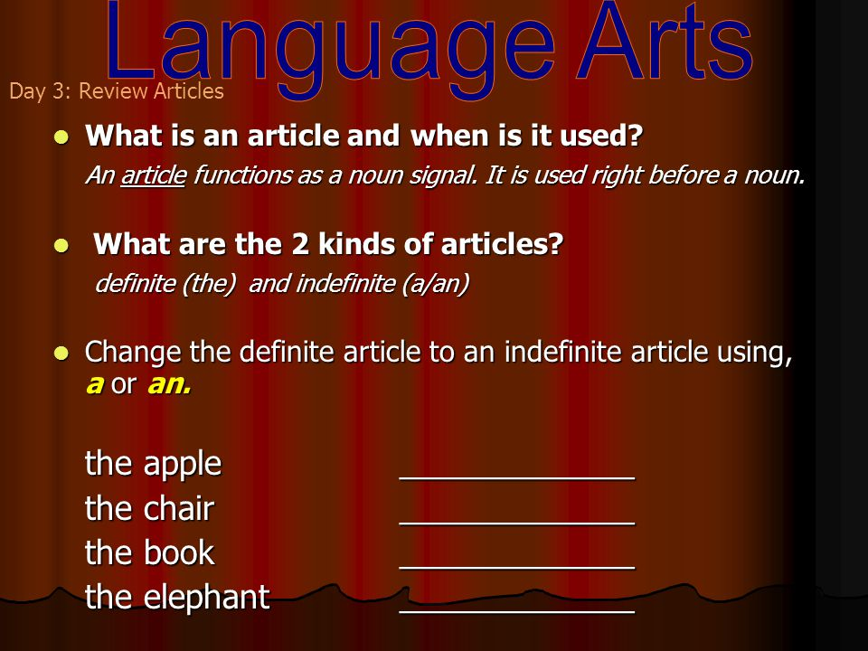 What is an article and when is it used. What is an article and when is it used.