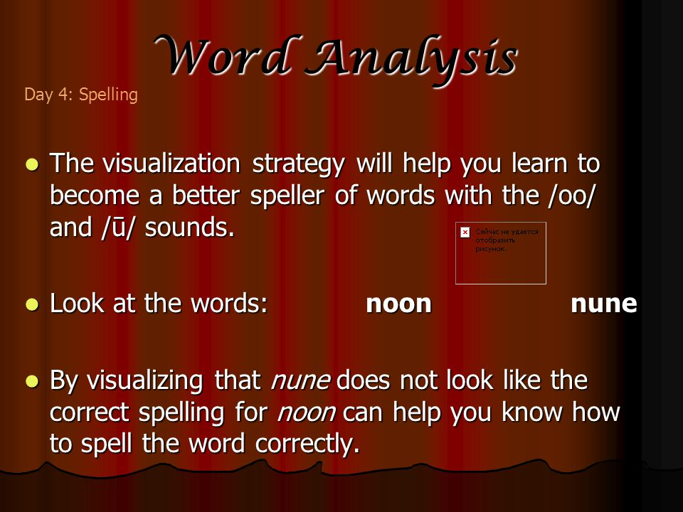 Word Analysis The visualization strategy will help you learn to become a better speller of words with the /oo/ and /ū/ sounds.