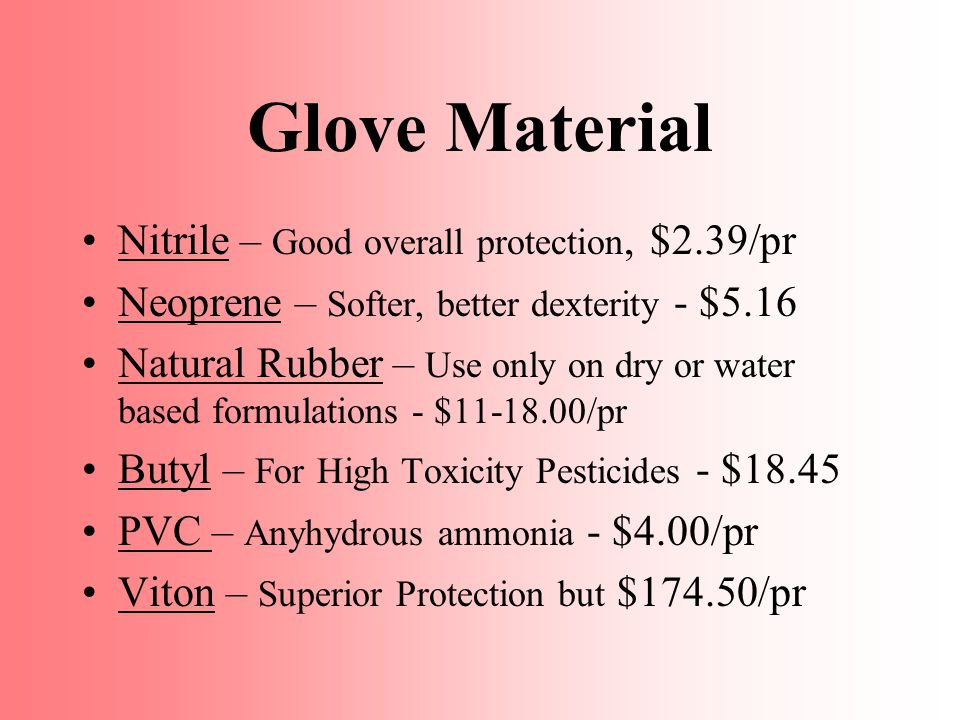 Glove Material Nitrile – Good overall protection, $2.39/pr Neoprene – Softer, better dexterity - $5.16 Natural Rubber – Use only on dry or water based formulations - $11-18.00/pr Butyl – For High Toxicity Pesticides - $18.45 PVC – Anyhydrous ammonia - $4.00/pr Viton – Superior Protection but $174.50/pr