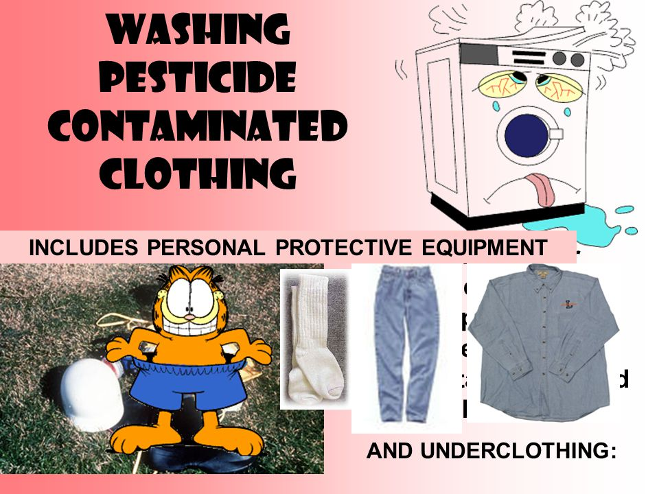 Washing Pesticide Contaminated Clothing Any clothing or equipment used to apply pesticides should be considered to be contaminated and should be cleaned.