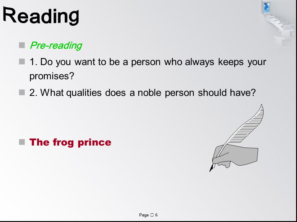 Page  6 Pre-reading 1. Do you want to be a person who always keeps your promises.