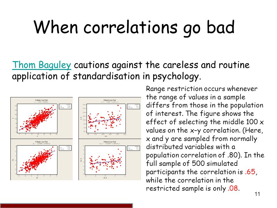 11 When correlations go bad Thom BaguleyThom Baguley cautions against the careless and routine application of standardisation in psychology. Range res