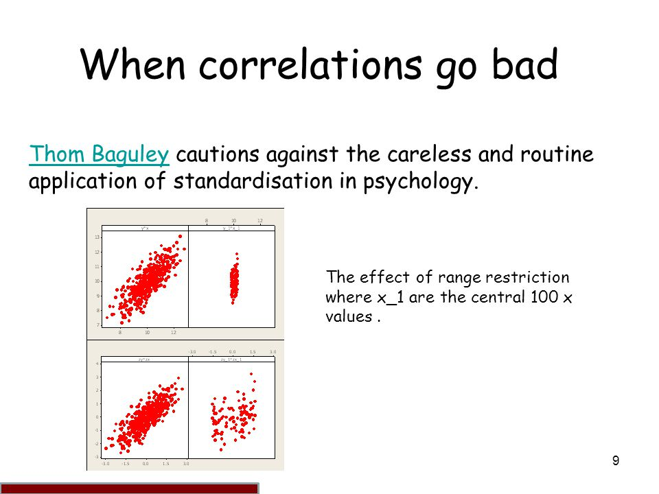 9 When correlations go bad Thom BaguleyThom Baguley cautions against the careless and routine application of standardisation in psychology.