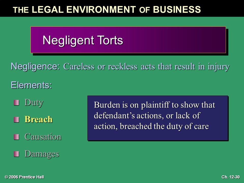 © 2006 Prentice Hall THE LEGAL ENVIRONMENT OF BUSINESS Ch. 12-30 Negligent Torts Negligence: Careless or reckless acts that result in injury Elements: