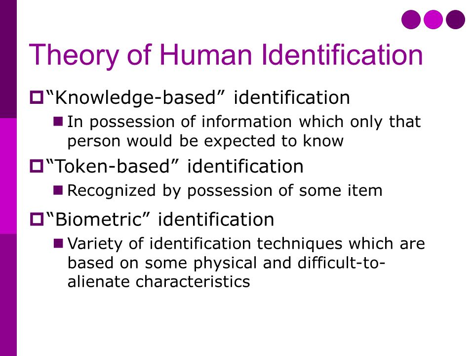 Theory of Human Identification  Knowledge-based identification In possession of information which only that person would be expected to know  Token-based identification Recognized by possession of some item  Biometric identification Variety of identification techniques which are based on some physical and difficult-to- alienate characteristics