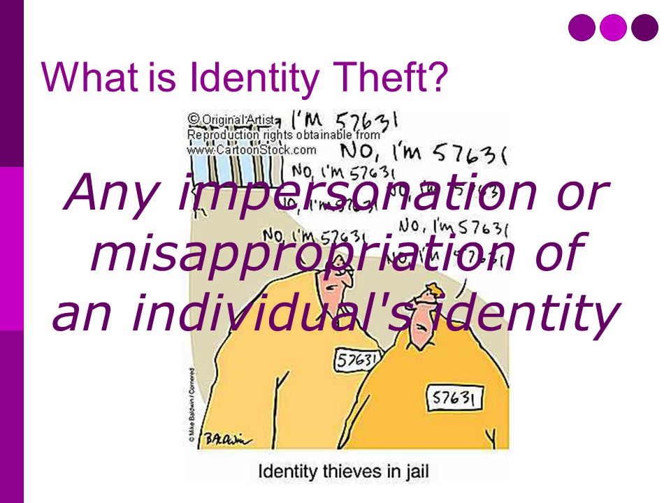 What is Identity Theft Any impersonation or misappropriation of an individual s identity