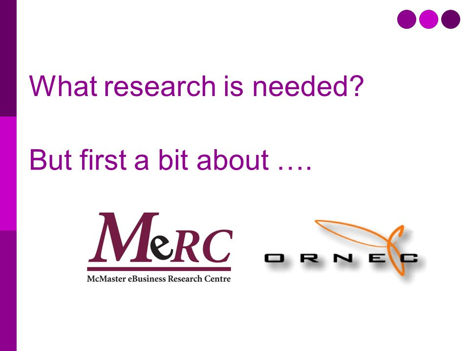 What research is needed But first a bit about ….