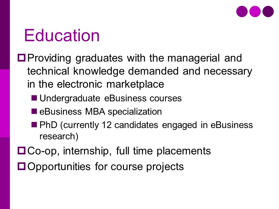 Education  Providing graduates with the managerial and technical knowledge demanded and necessary in the electronic marketplace Undergraduate eBusiness courses eBusiness MBA specialization PhD (currently 12 candidates engaged in eBusiness research)  Co-op, internship, full time placements  Opportunities for course projects