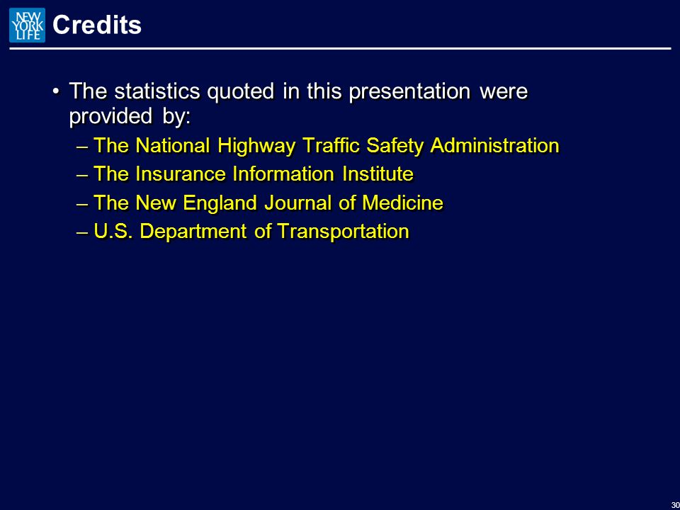 Credits The statistics quoted in this presentation were provided by: –The National Highway Traffic Safety Administration –The Insurance Information Institute –The New England Journal of Medicine –U.S.