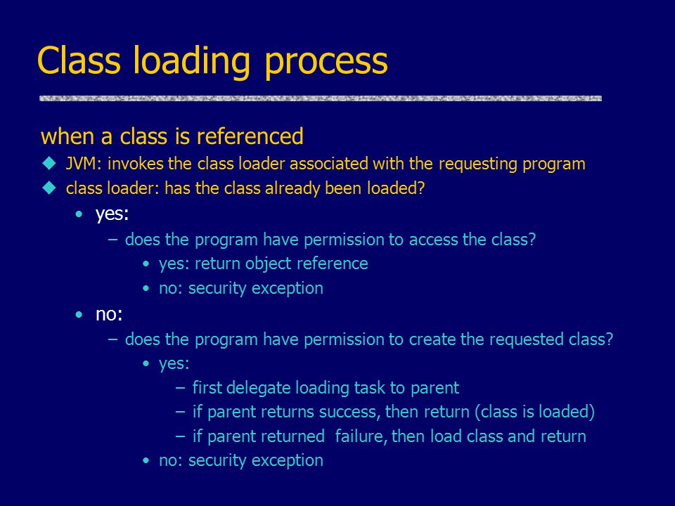 Class loading process when a class is referenced uJVM: invokes the class loader associated with the requesting program uclass loader: has the class already been loaded.