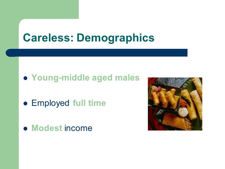 Careless: Demographics Young-middle aged males Employed full time Modest income