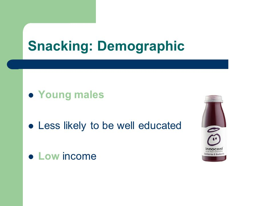 Snacking: Demographic Young males Less likely to be well educated Low income