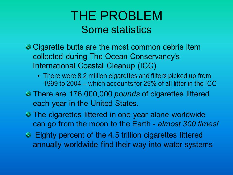 THE PROBLEM Some statistics Cigarette butts are the most common debris item collected during The Ocean Conservancy s International Coastal Cleanup (ICC) There were 8.2 million cigarettes and filters picked up from 1999 to 2004 – which accounts for 29% of all litter in the ICC There are 176,000,000 pounds of cigarettes littered each year in the United States.