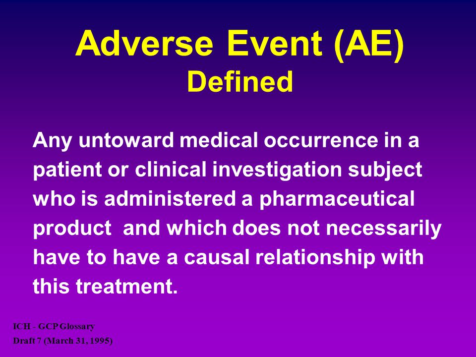 Adverse Event (AE) Defined Any untoward medical occurrence in a patient or clinical investigation subject who is administered a pharmaceutical product