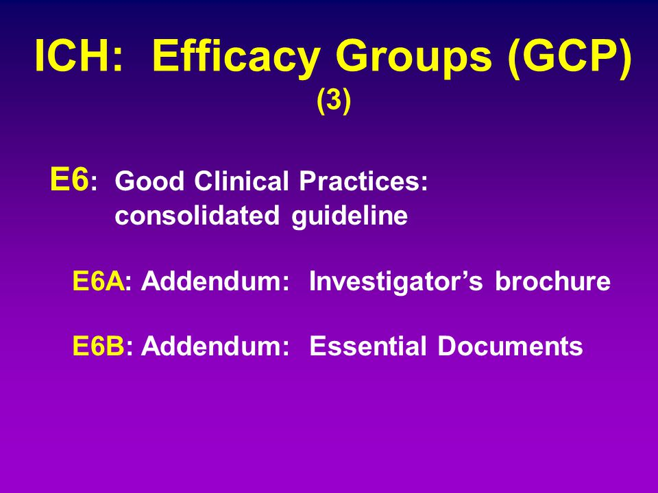 ICH: Efficacy Groups (GCP) (3) E6 : Good Clinical Practices: consolidated guideline E6A: Addendum: Investigator's brochure E6B: Addendum: Essential Do