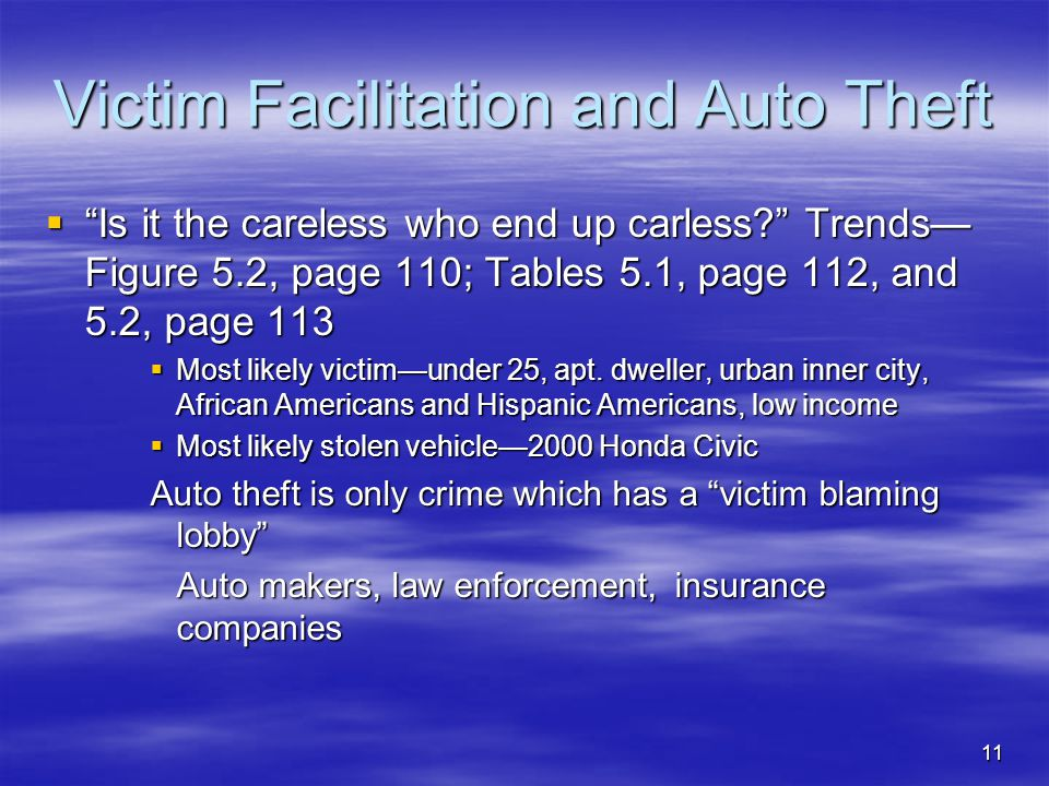 """11 Victim Facilitation and Auto Theft  """"Is it the careless who end up carless?"""" Trends— Figure 5.2, page 110; Tables 5.1, page 112, and 5.2, page 113"""