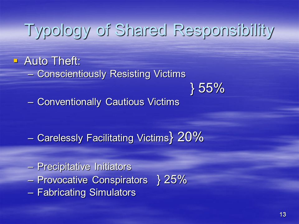 13 Typology of Shared Responsibility  Auto Theft: –Conscientiously Resisting Victims } 55% } 55% –Conventionally Cautious Victims –Carelessly Facilit