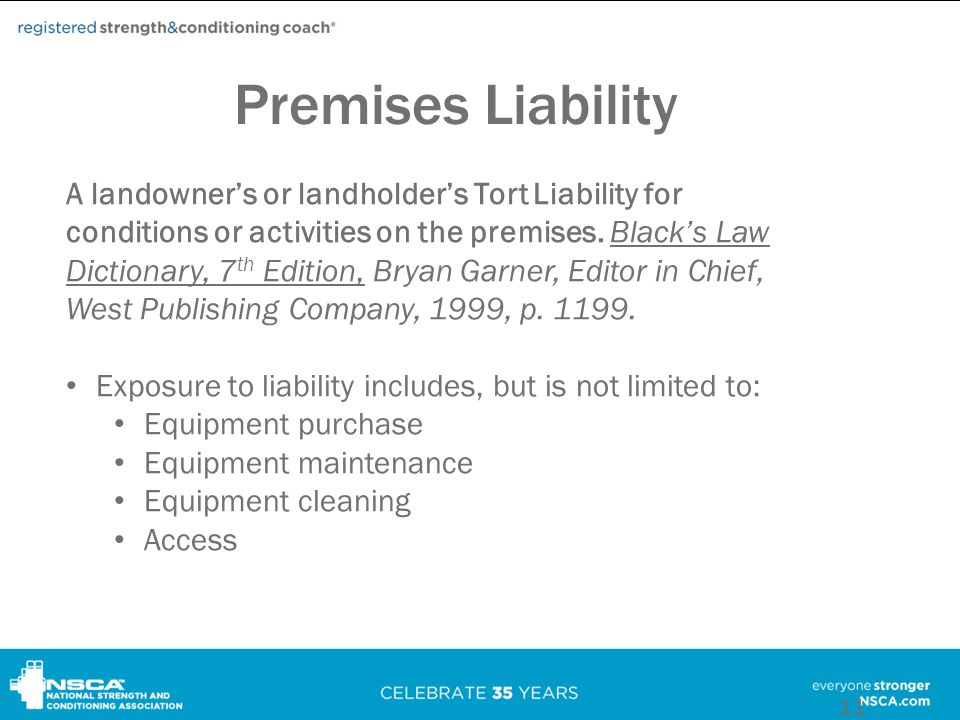 Premises Liability A landowner's or landholder's Tort Liability for conditions or activities on the premises.