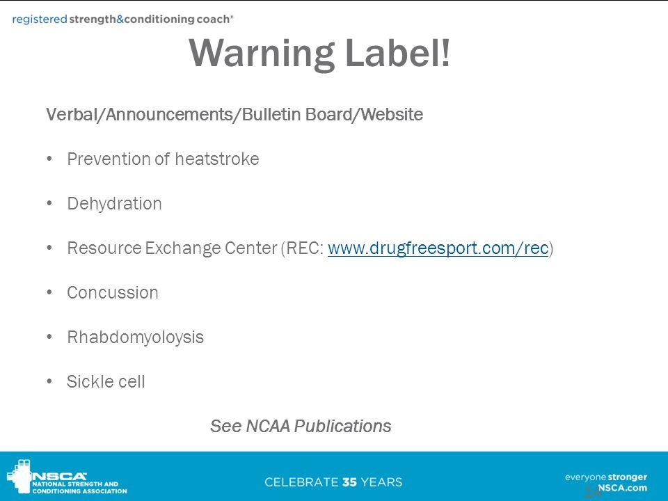 Warning Label.
