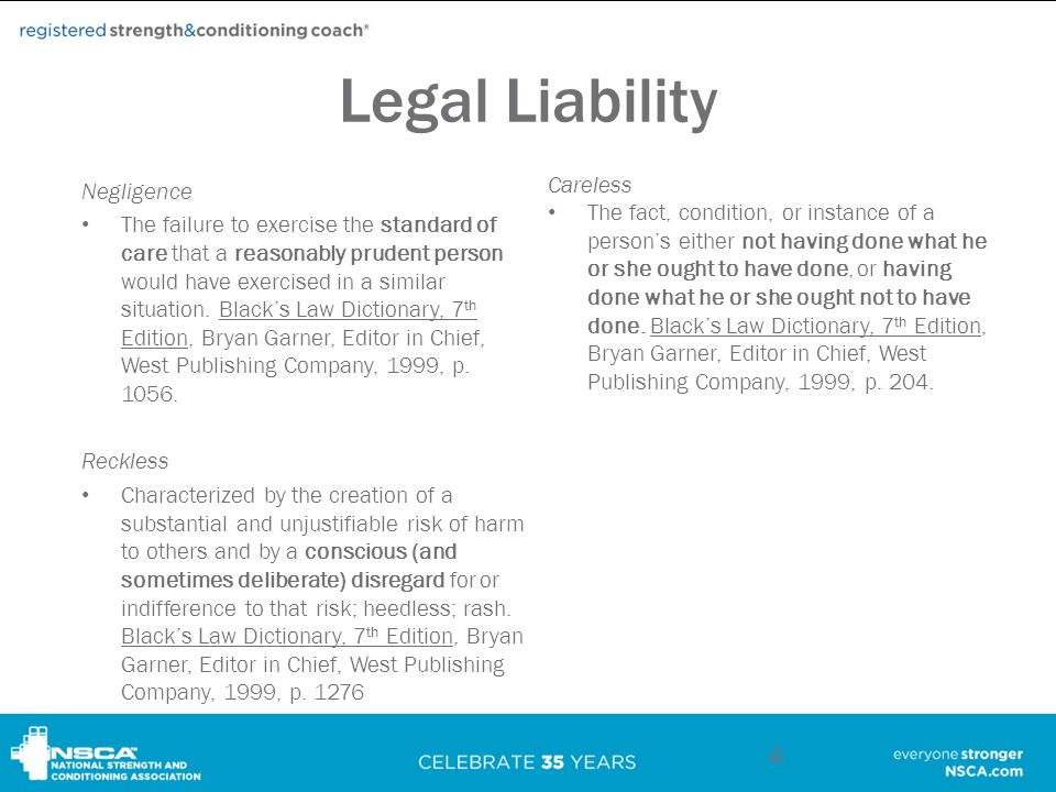 Legal Liability Careless The fact, condition, or instance of a person's either not having done what he or she ought to have done, or having done what he or she ought not to have done.