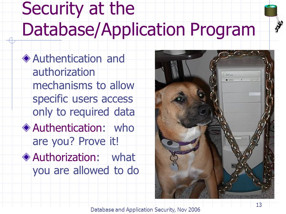 Database and Application Security, Nov 2006 13 Security at the Database/Application Program Authentication and authorization mechanisms to allow speci