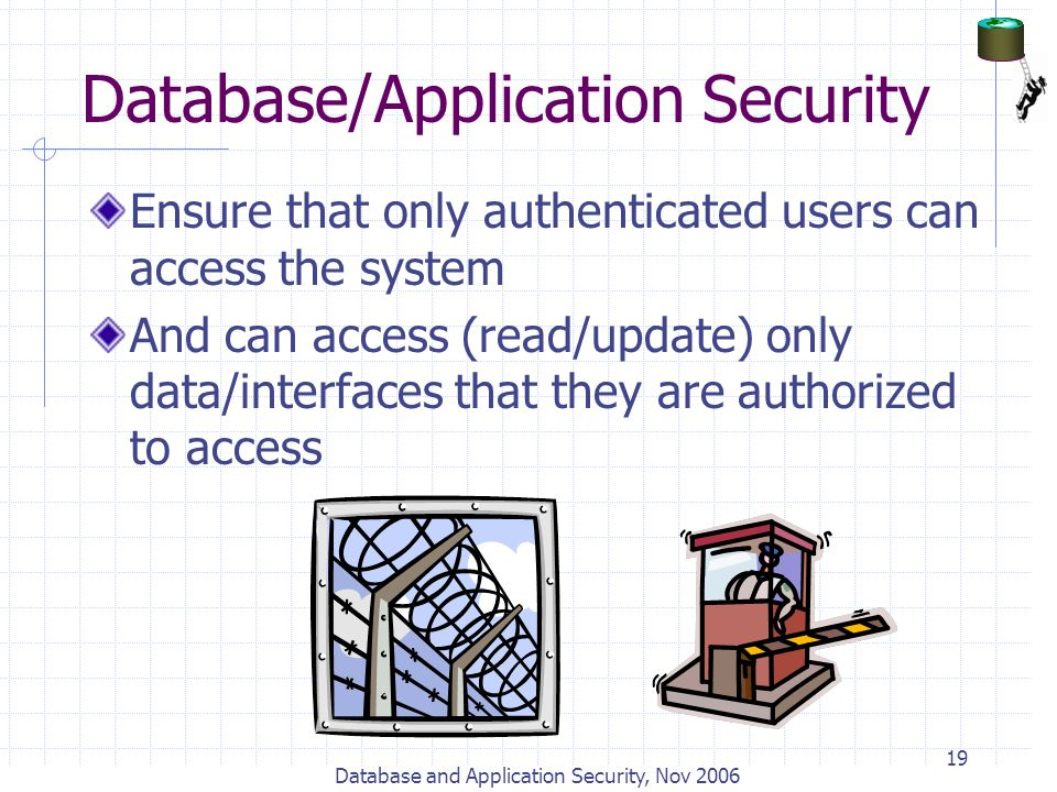 Database and Application Security, Nov 2006 19 Database/Application Security Ensure that only authenticated users can access the system And can access
