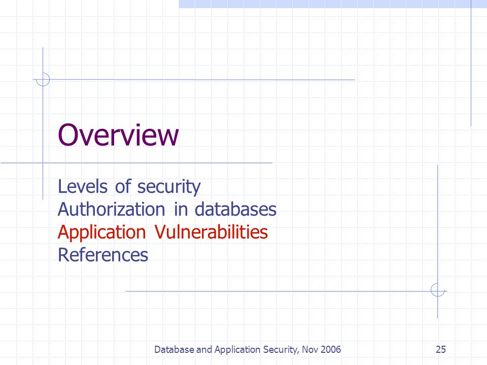 Database and Application Security, Nov 200625 Overview Levels of security Authorization in databases Application Vulnerabilities References