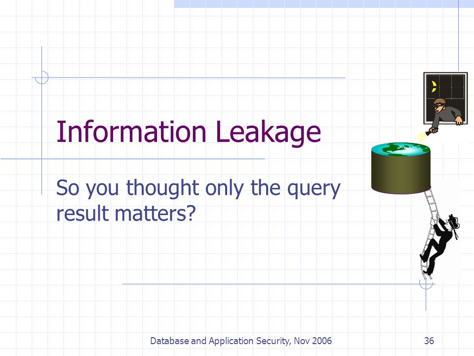 Database and Application Security, Nov 200636 Information Leakage So you thought only the query result matters?