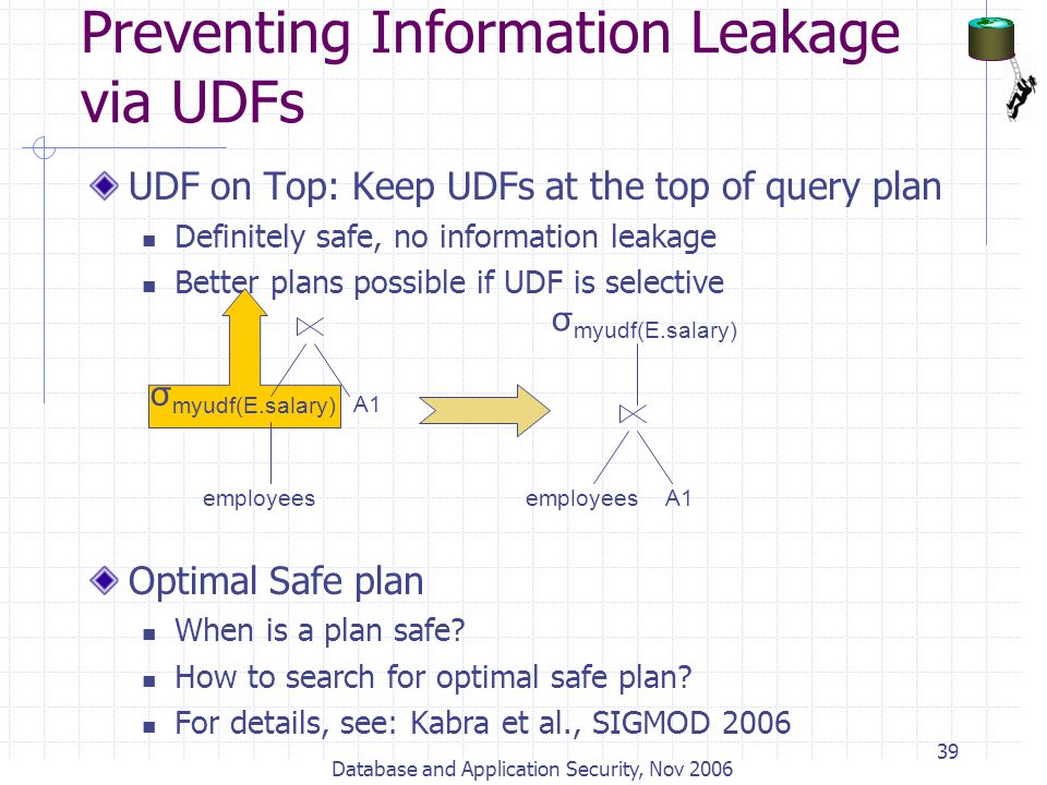 Database and Application Security, Nov 2006 39 UDF on Top: Keep UDFs at the top of query plan Definitely safe, no information leakage Better plans pos